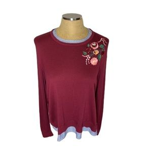NWT Crown&Ivy layered look sweater